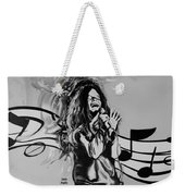 Janis In Black And White Weekender Tote Bag