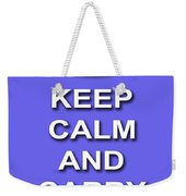 Keep Calm And Carry On Poster Print Blue Background Weekender Tote Bag