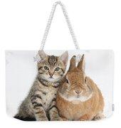 Kitten And Netherland Dwarf-cross Rabbit Weekender Tote Bag