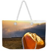 Lake Sunset With Canoe On Beach Weekender Tote Bag by Elena Elisseeva