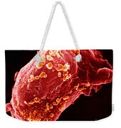 Lymphocyte With Hiv Cluster Weekender Tote Bag by Science Source