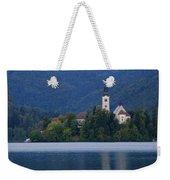 Moon Setting At Sunrise Over Island Church At Lake Bled Weekender Tote Bag