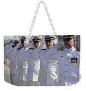 Officers Render Honors During A Change Weekender Tote Bag