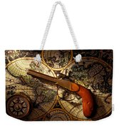 Old Gun On Old Map Weekender Tote Bag