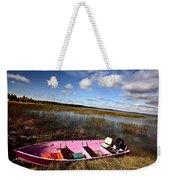 Pink Boat In Scenic Saskatchewan Weekender Tote Bag