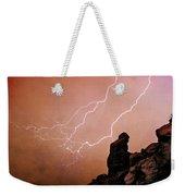 Praying Monk Camelback Mountain Lightning Monsoon Storm Image Tx Weekender Tote Bag