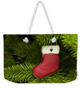 Present Sock Shape Short Bread Cookie In Christmas Tree Weekender Tote Bag