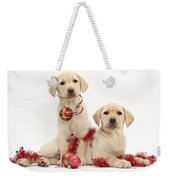 Puppies At Christmas Weekender Tote Bag