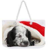 Puppy Sleeping In Christmas Hat Weekender Tote Bag