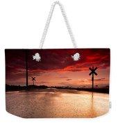 Railroad Sunset Weekender Tote Bag