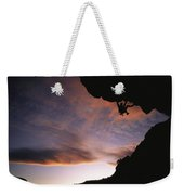 Rock Climbing Out A Steep Roof In Sinks Weekender Tote Bag