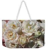 Romantic White Roses Weekender Tote Bag
