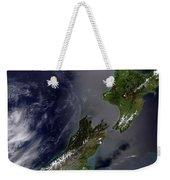 Satellite View Of New Zealand Weekender Tote Bag by Stocktrek Images
