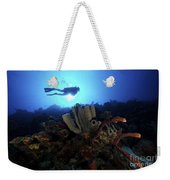 Scuba Diver Swims By Some Large Sponges Weekender Tote Bag