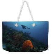 Scuba Diver Swims Underwater Amongst Weekender Tote Bag