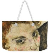 Seated Woman With Bent Knee Weekender Tote Bag by Egon Schiele