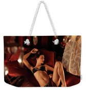 Sexy Young Woman Lying In Bed Weekender Tote Bag