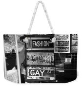 Signs Of New York In Black And White Weekender Tote Bag by Rob Hans