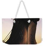 Silhouette Of The Battleship U.s.s Weekender Tote Bag