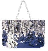 Snow-covered Pine Trees On Mount Hood Weekender Tote Bag