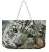 Snow Leopard Painterly Weekender Tote Bag