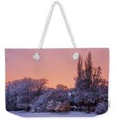 Snow Scene At Sunrise Weekender Tote Bag