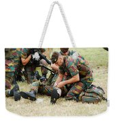Soldiers Of A Belgian Infantry Unit Weekender Tote Bag by Luc De Jaeger