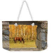 Stone Window View And Beautiful Horse Weekender Tote Bag