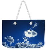 Sunlit Fluffy White Clouds In A Blue Weekender Tote Bag