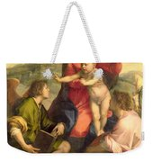 The Virgin And Child With A Saint And An Angel Weekender Tote Bag by Andrea del Sarto
