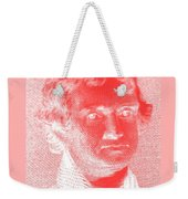 Thomas Jefferson In Negative Red Weekender Tote Bag by Rob Hans
