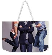 Three Fashionably Dressed Young People Weekender Tote Bag