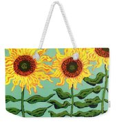 Three Sunflowers Weekender Tote Bag by Genevieve Esson