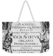 Title Page, Giulio Casserios Anatomy Weekender Tote Bag