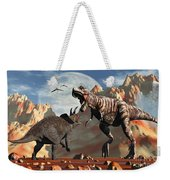 Tyrannosaurus Rex And Triceratops Meet Weekender Tote Bag