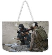 U.s. Marine Watches An Afghan Police Weekender Tote Bag