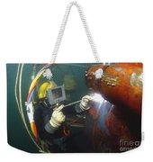 U.s. Navy Diver Welds A Repair Patch Weekender Tote Bag