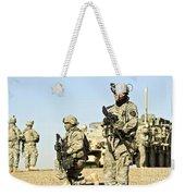 U.s. Soldiers Conduct A Combat Patrol Weekender Tote Bag