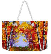 White Birch Tree Abstract Painting In Autumn Weekender Tote Bag