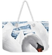 White Swan On Water Weekender Tote Bag
