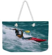 Whitewater Kayaker Surfing A Standing Weekender Tote Bag