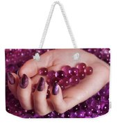 Woman Hand With Purple Nail Polish On Candy Weekender Tote Bag