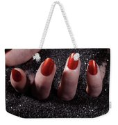 Woman Hand With Red Nails On Black Sand Weekender Tote Bag