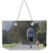 Woman Walking With Her Dogs Weekender Tote Bag