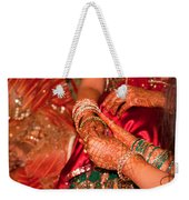 Women With Decorated Hands Holding Hands In A Hindu Religious Ceremony Weekender Tote Bag