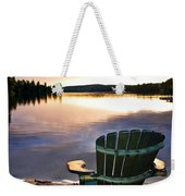 Wooden Chair At Sunset On Beach Weekender Tote Bag by Elena Elisseeva