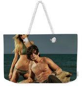 Young Beautiful Couple At The Beach Weekender Tote Bag