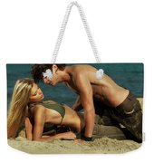 Young Couple On The Beach Weekender Tote Bag