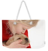 Young Girl With Yellow Labrador Weekender Tote Bag