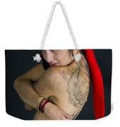 Young Woman Wearing Santa Hat Weekender Tote Bag
